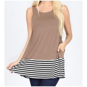 """Zenana Premium Tops - NEW """"Magdalena"""" solid and striped tunic top"""
